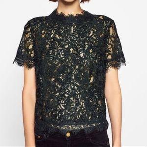 Zara trafaluc embroidered lace shirt top tunic new